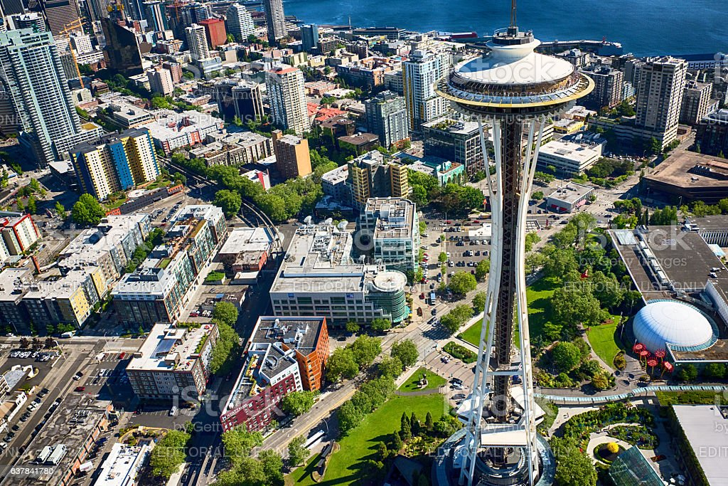 Seattle Center and Space Needle Aerial stock photo