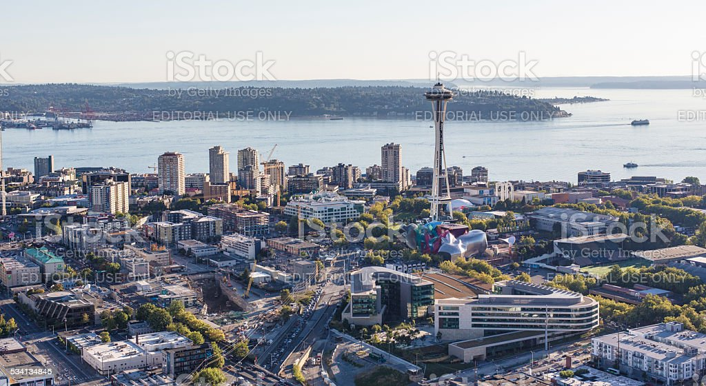 Seattle Center Downtown Waterfront District Aerial View stock photo