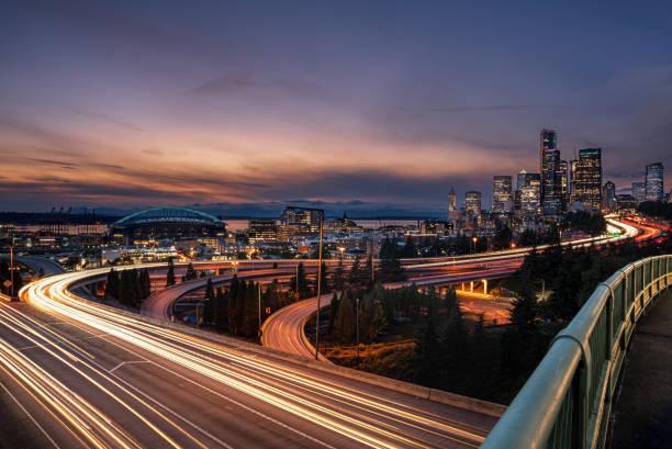 seattle city lights - lång exponeringstid bildbanksfoton och bilder