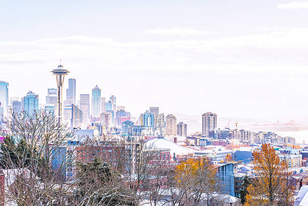 seattle city scape with snow coverd. - seattle 個照片及圖片檔