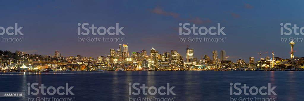 Seattle City Skyline along Lake Union Evening Panorama stock photo