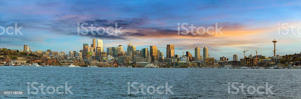 Seattle City Skyline along Lake Union stock photo