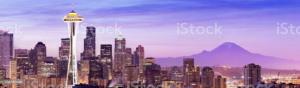 Seattle City Skyline and Mount Rainier in the USA stock photo