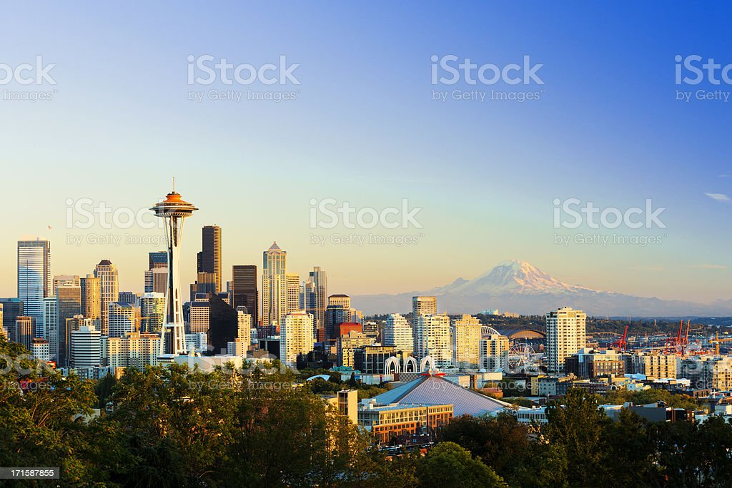 Seattle City Skyline and Mount Rainier USA royalty-free stock photo