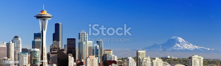Panoramic view of the Seattle City skyline with Mt Rainier in the distance on a clear blue sky summers day, Washington State, USA.