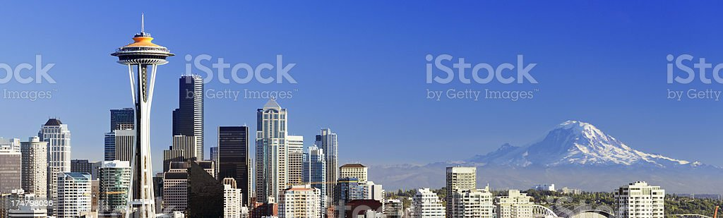 Seattle City Skyline and Mount Rainier USA stock photo