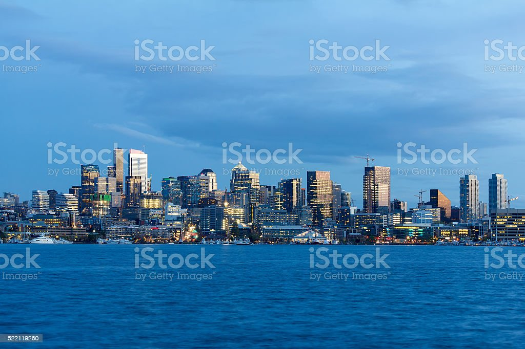 Seattle City Skyline Blue Hour stock photo