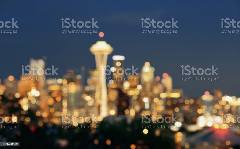 Seattle city skyline night stock photo