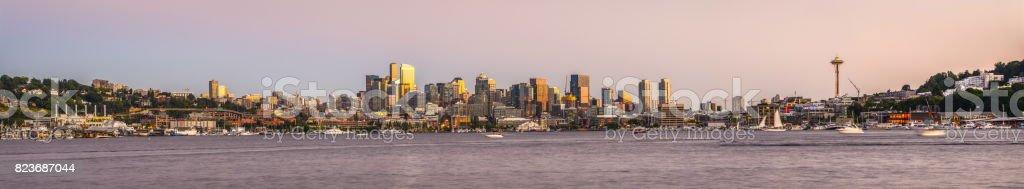 Seattle City Skyline Panorama View From Gasworks Park, WA stock photo