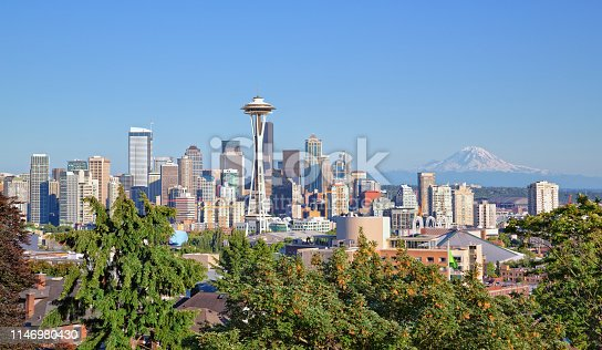 Seattle cityscape and Mt Rainier