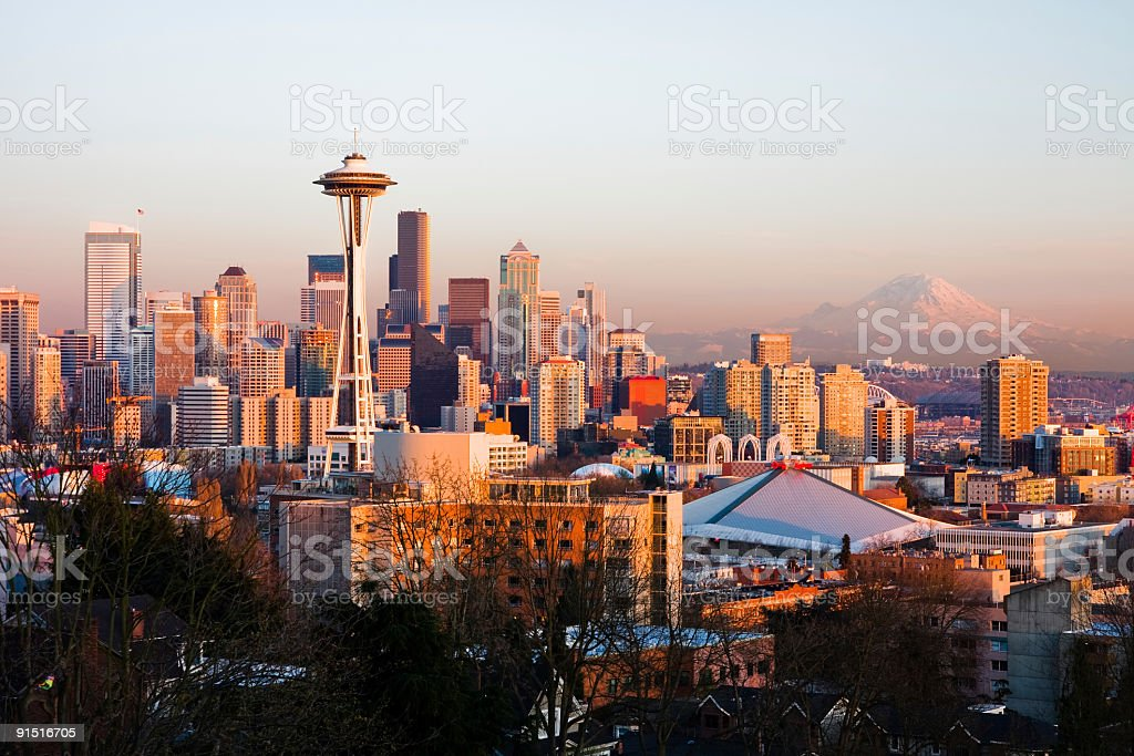 Seattle cityscape during sunset stock photo