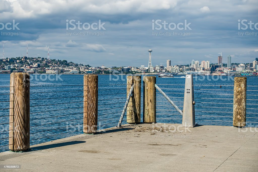 Seattle Cityscape With Fence stock photo