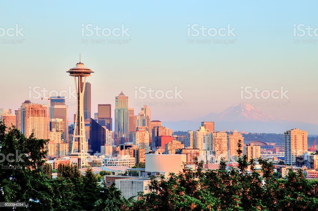 Seattle Cityscape with Mt. Rainier in the Background at Sunset stock photo