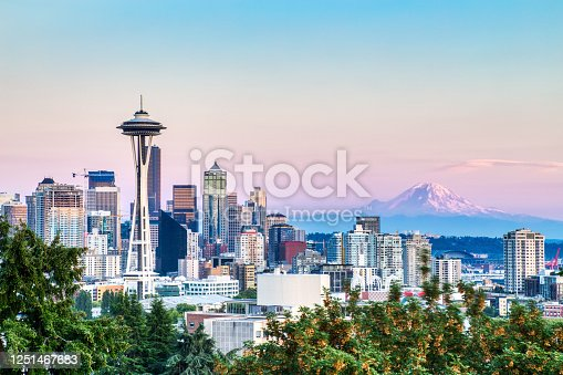 istock Seattle Cityscape with Mt. Rainier in the Background at Sunset, Washington, USA 1251467683