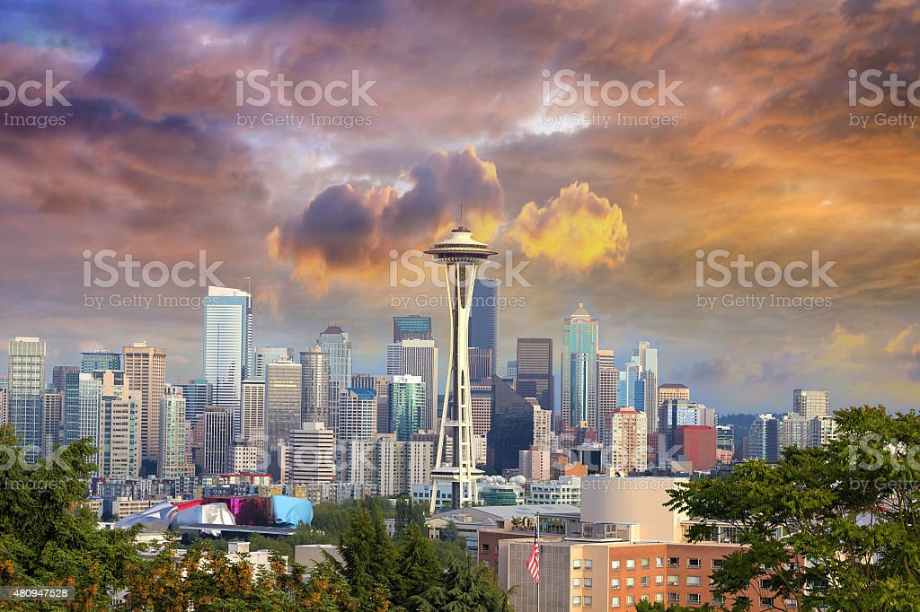 Seattle Cityscape with Stormy Sky stock photo