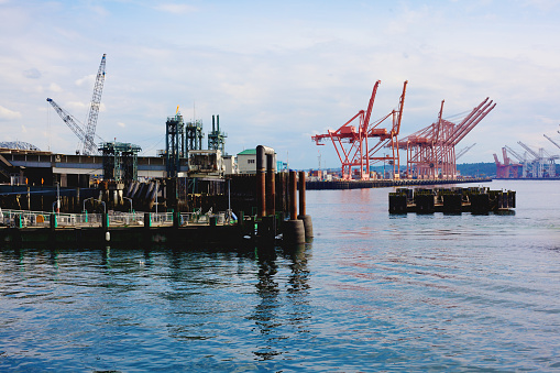 Seattle Commercial Pier Stock Photo - Download Image Now