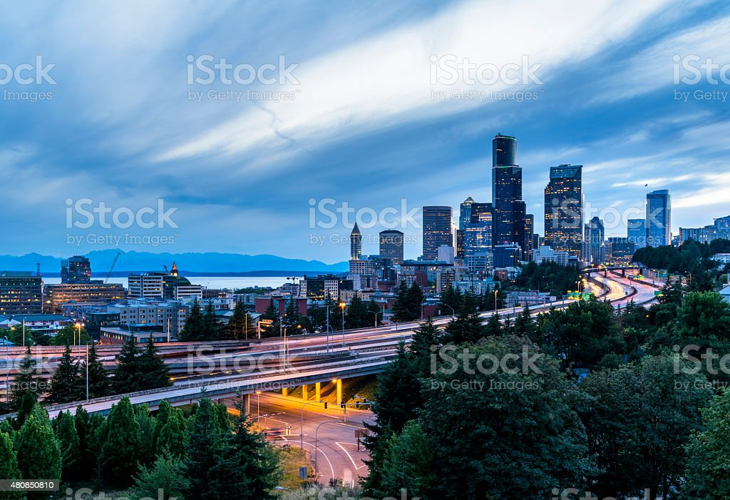 Seattle Commute. The Seattle, Washington skyline at night stock photo