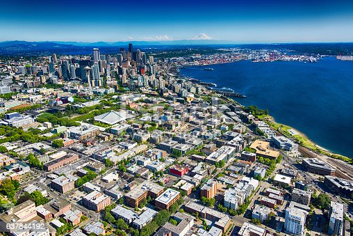 An aerial view of the downtown area and the surrounding neighborhoods of Seattle, Washington.