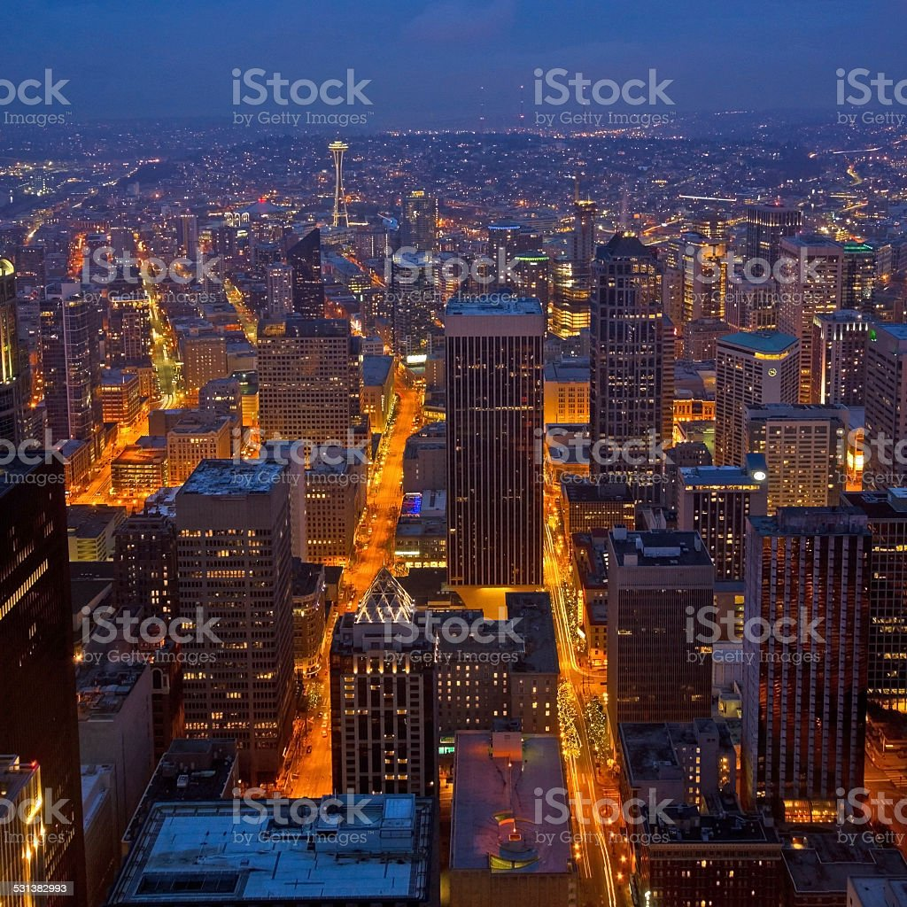 Seattle Downtown at Night stock photo