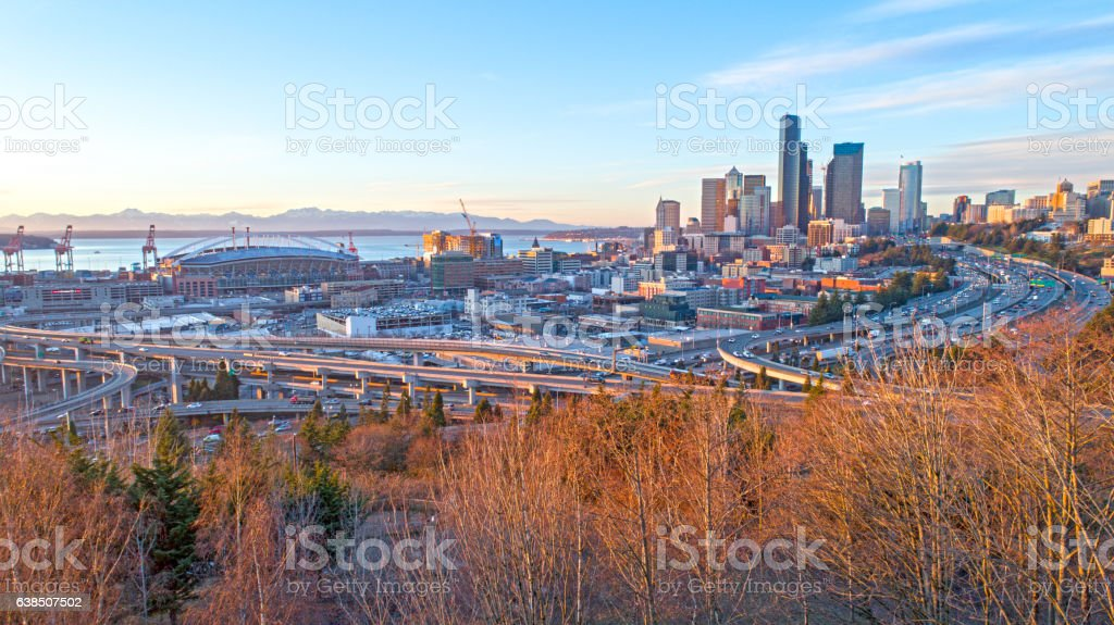 Seattle Downtown City View Sunset Olympic Mountains Elliot Bay Skyline stock photo