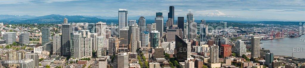 Seattle downtown cityscape panorama Washington stock photo