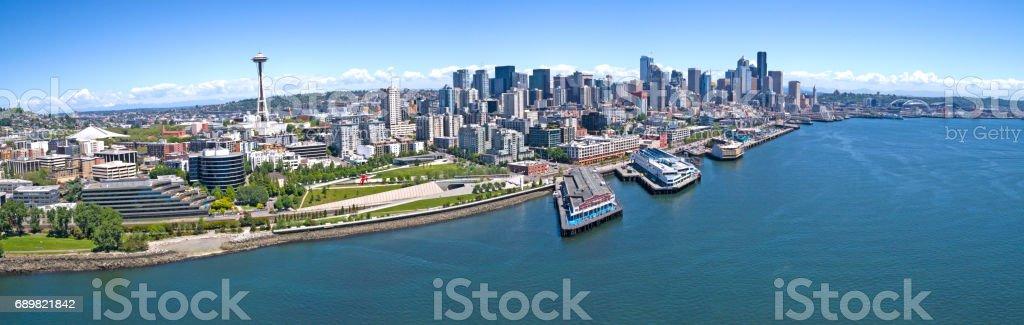 Seattle Downtown Elliot Bay Waterfront Panoramic stock photo