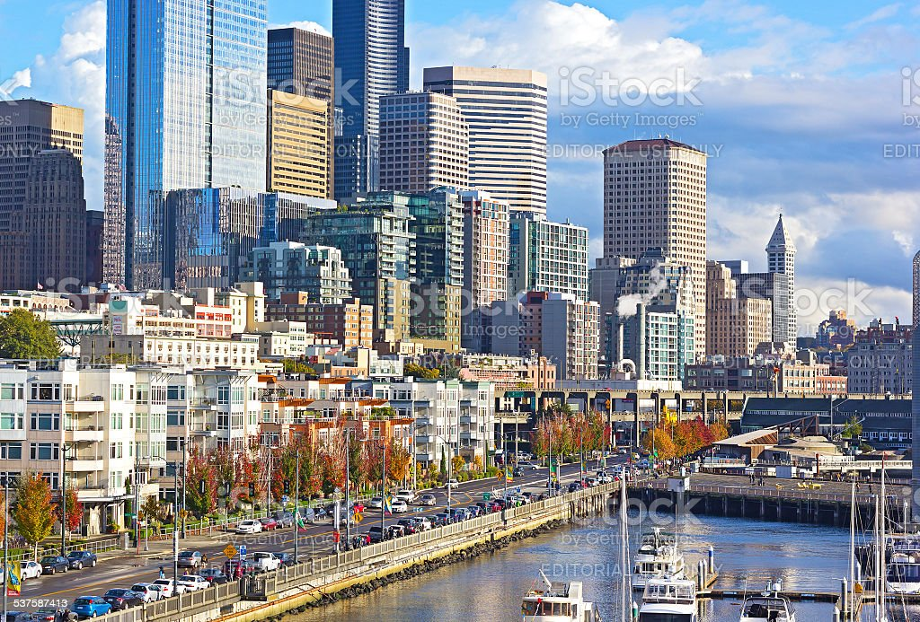 Seattle downtown in autumn stock photo