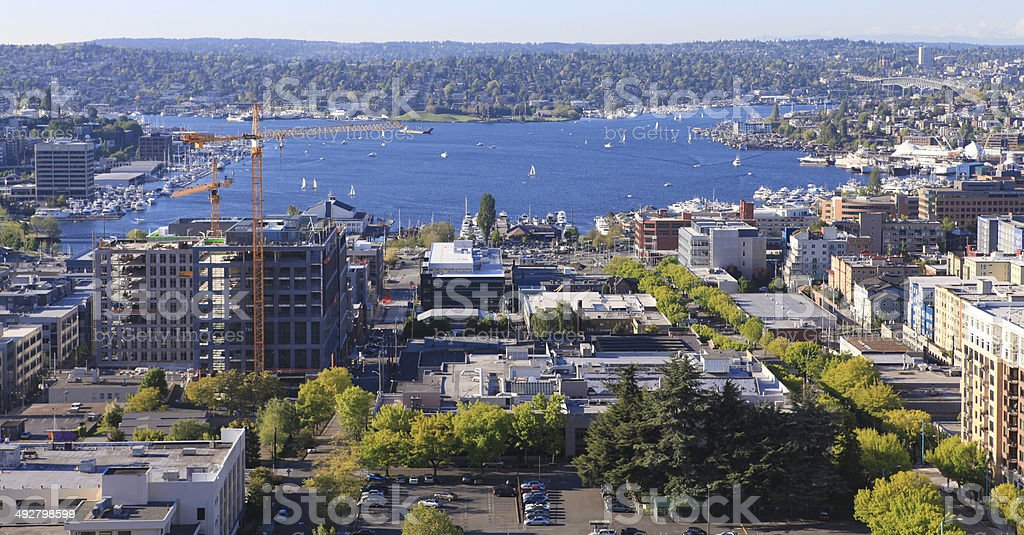 Seattle downtown, panoramic view stock photo
