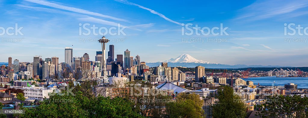 Seattle downtown skyline and Mt. Rainier, Washington stock photo
