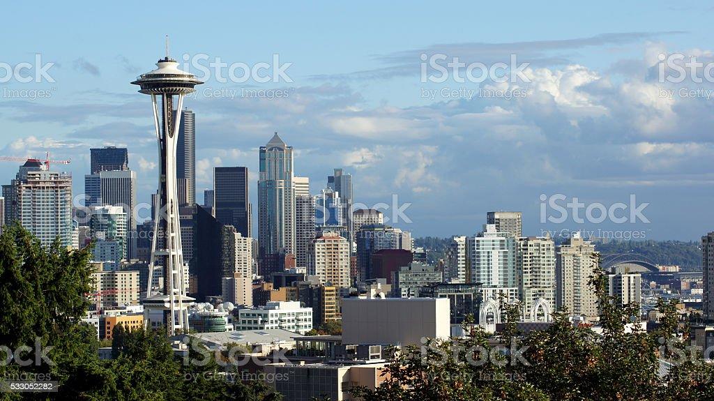 Seattle downtown skyline and Mt. Rainier, Washington stock photo