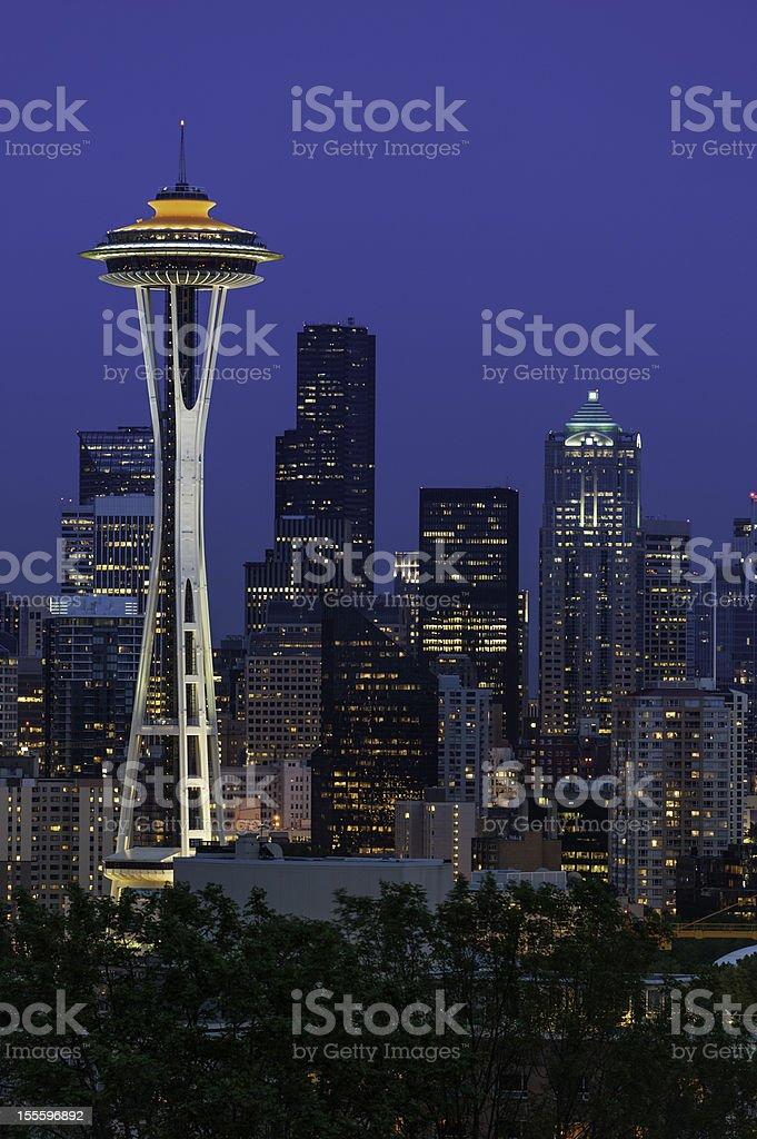 Seattle downtown skyline illuminated at night stock photo