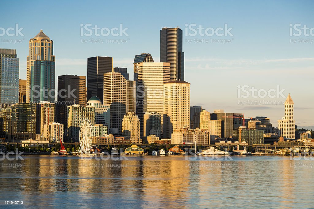 Seattle Downtown Waterfront with the new Great wheel stock photo