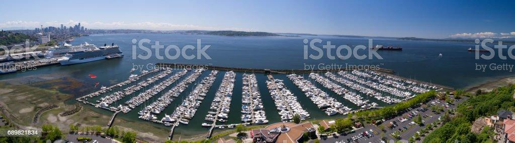 Seattle Elliott bay Waterfront Marina Panoramic stock photo