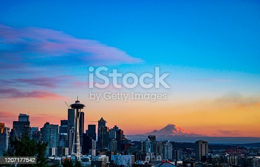 Sunny February sunset in Seattle