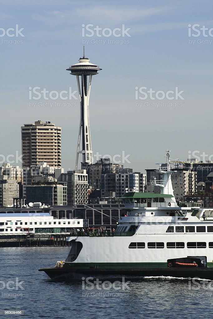Seattle Ferry and Space Needle royalty-free stock photo
