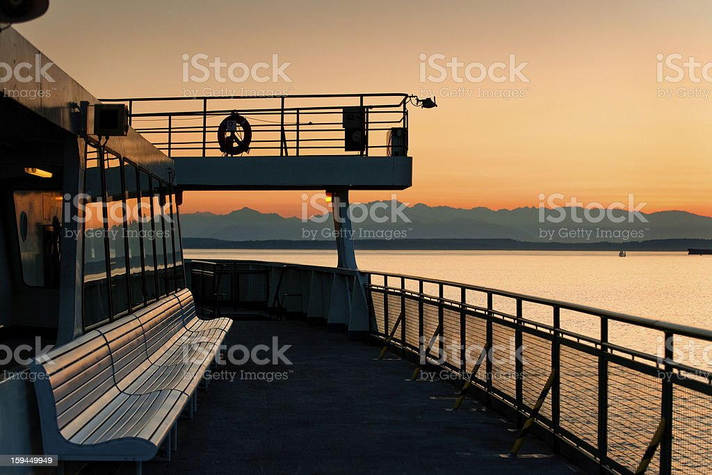 Seattle Ferryboat and Olympic Mountains stock photo