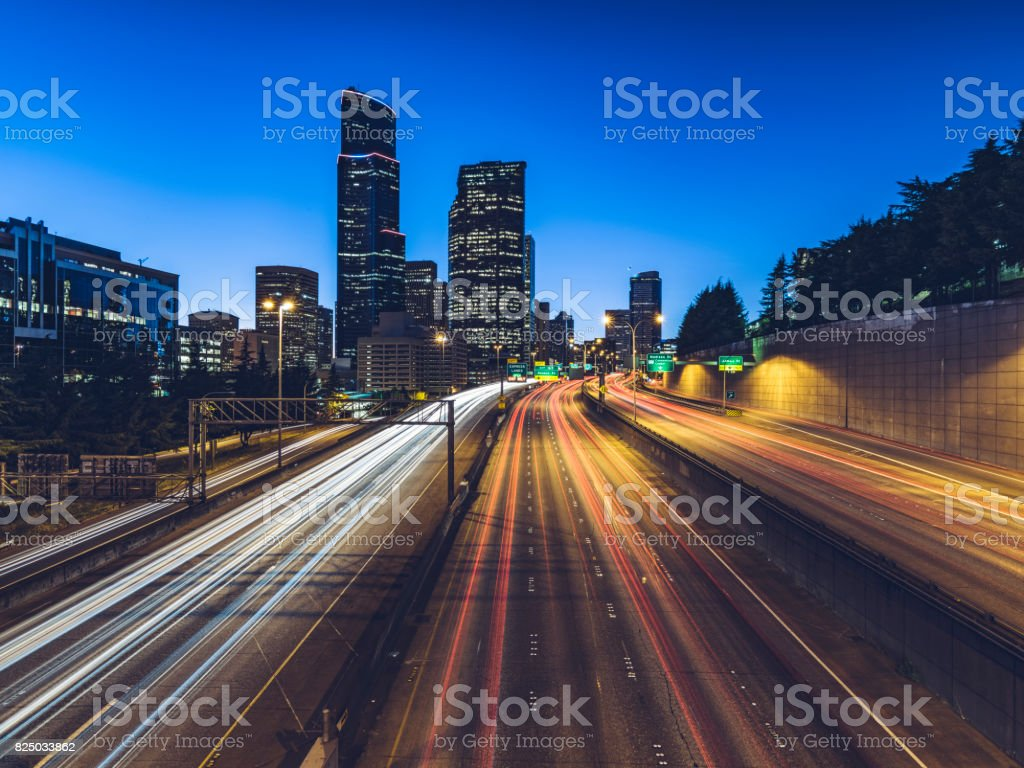 seattle freeway light trails stock photo