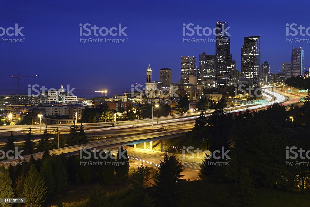 Seattle Freeways, Dawn Twilight, USA royalty-free stock photo