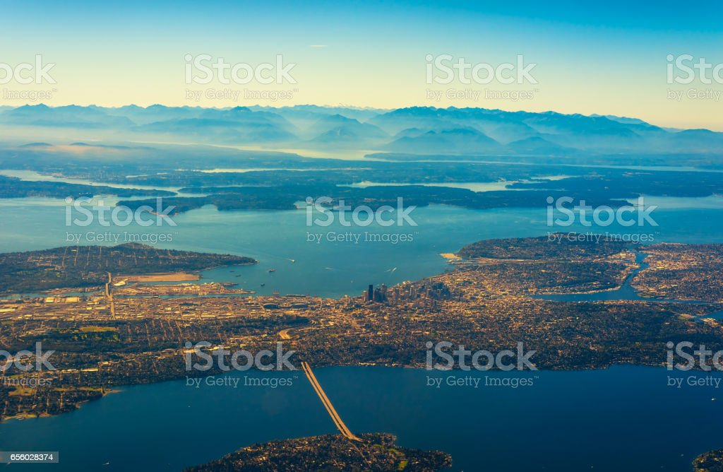 Seattle from air stock photo