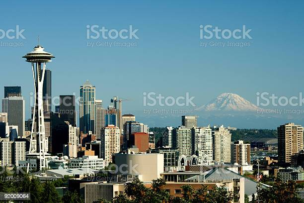 Seattle from Queen Anne with Space Needle and Mt. Rainier