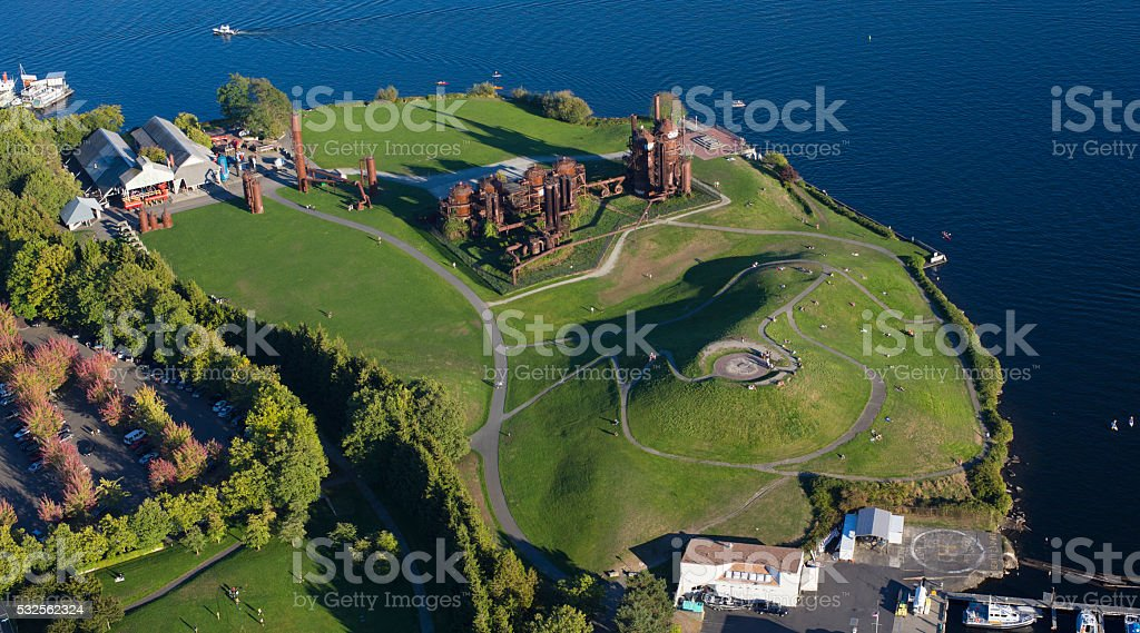 Seattle Gasworks Park Aerial View stock photo