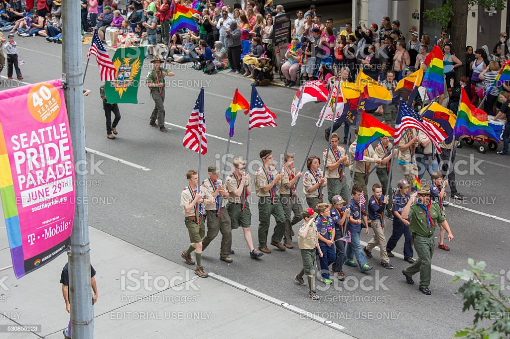 Seattle Gay Pride Festival 40th Anniversary Boy Scouts Troops stock photo