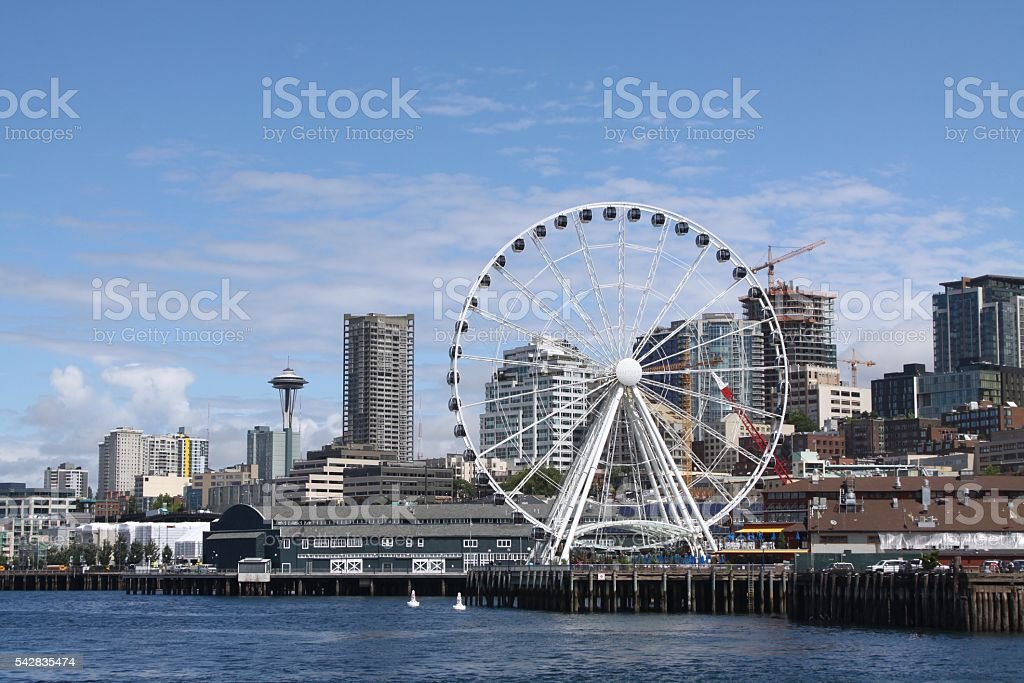 Seattle Great Wheel And The Space Needle stock photo