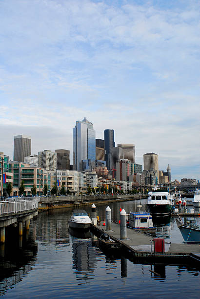 seattle harbor, with boats and skyline stock photo
