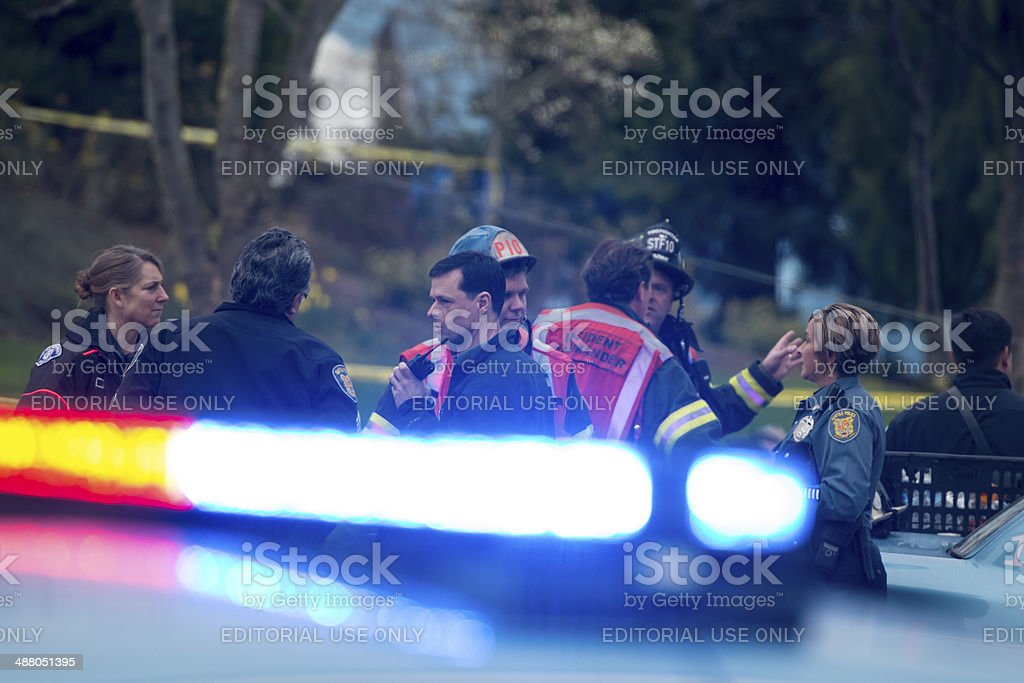 Seattle Helicopter Crash stock photo