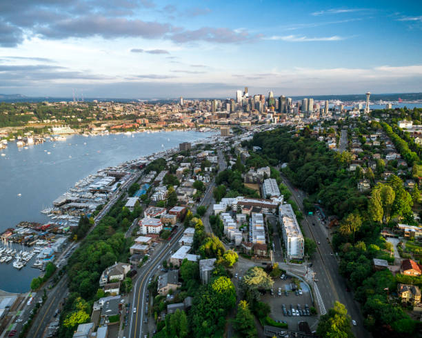 Seattle Helicopter View on Colorful Summer Day Downtown stock photo