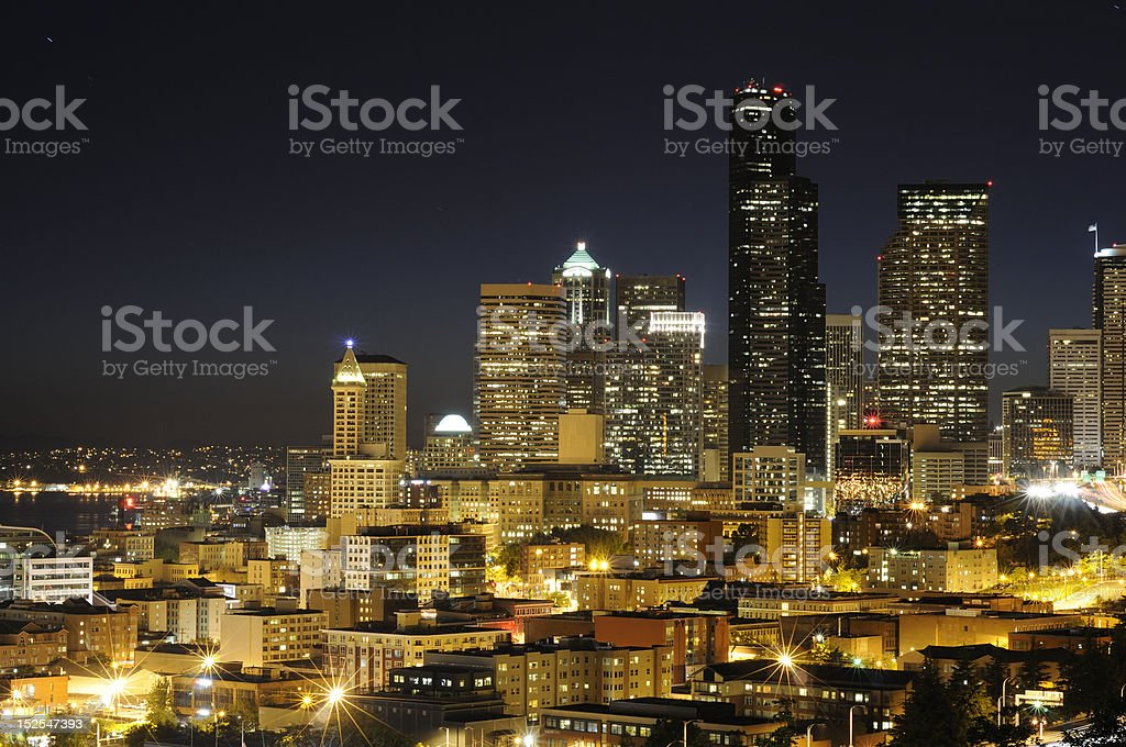 Seattle highrise and highway royalty-free stock photo