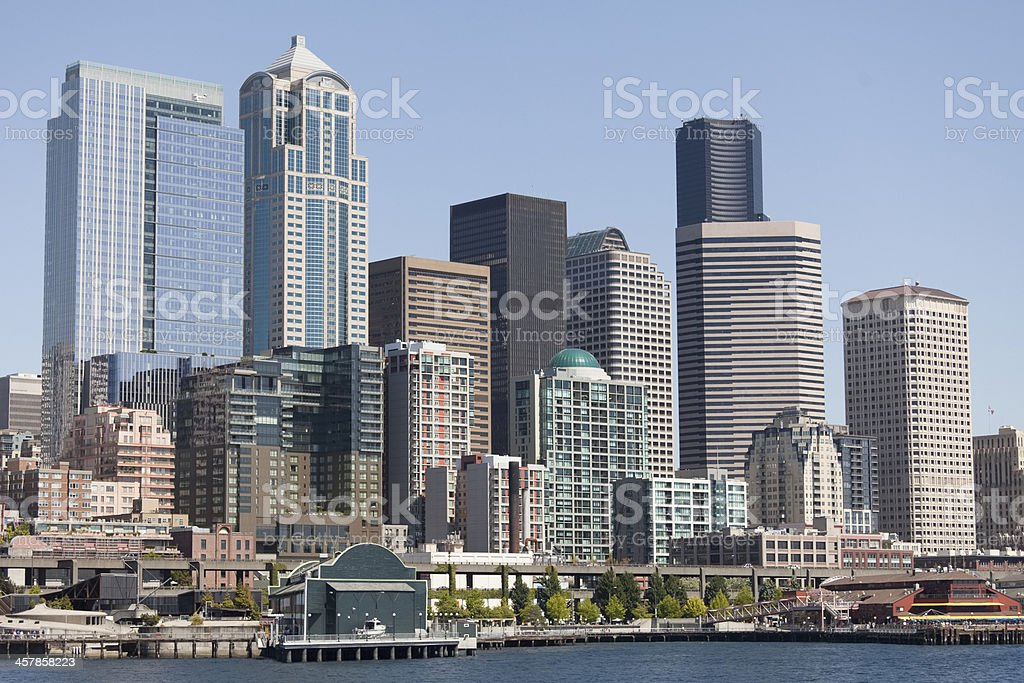 Seattle Highrise buildings along the waterfront royalty-free stock photo