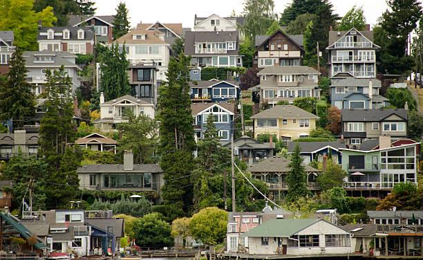 Seattle hills near University District stock photo
