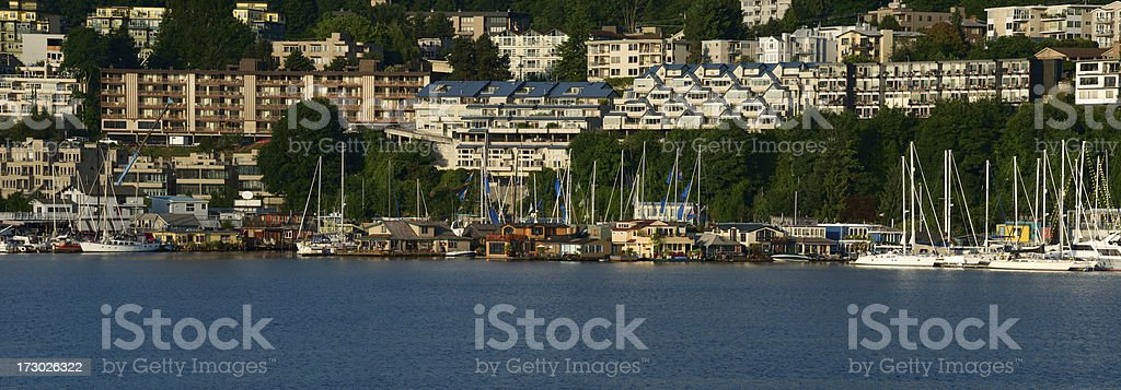 Seattle Houseboats on the West Side of Queen Anne Hill stock photo